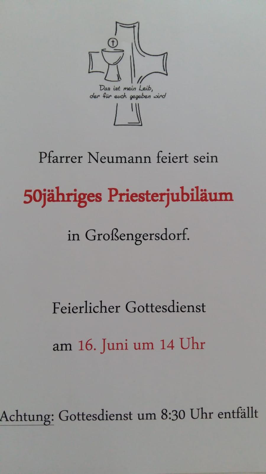Festgottesdienst zum 50-jährigen Priesterjubiläum von Pfarrer Neumann